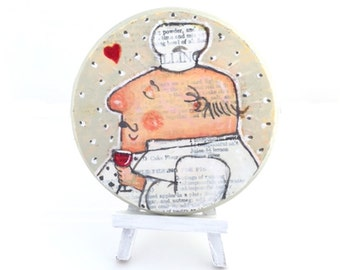 OOAK Mixed Media Painting of Whimsical Chef, Wall Decor, Kitchen Decor