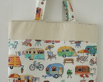 bag made with Nutex Getaway cotton fabric. Caravans/beachside Camping/ Holidays