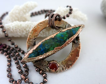 Satellite Necklace, Chrysocolla, Garnet & Electroform Copper,  Rustic Modern Handmade Pendant and Chain
