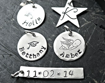 Hand Stamped Charms - Personalized Charms - Single Charm - Sterling Silver Charm - Custom Charm