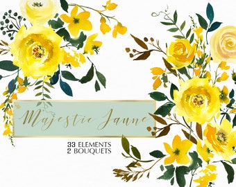 Yellow Watercolor Flowers Roses Clipart Set Wedding Floral Elements Bouquets Clip Art Digital Florals DIY Invitation Free Commercial Use