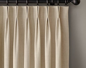 Pleated Draperies, 2 finger french pleats, Fully lined, 5 Colors available, Custom made pinch pleated draperies, Pleated Curtains, Drapes