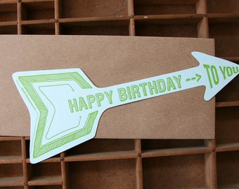 letterpress arrow birthday card