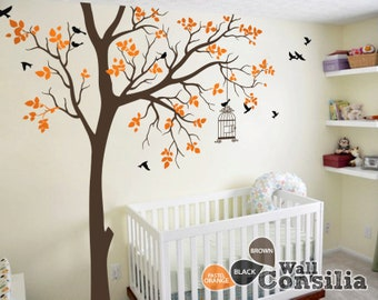 "Baby Nursery Wall Decals - Tree Wall Decal - Tree Decals - Birdcage Decal - Wall Mural Stickers - Large: approx 95"" x 89"" - KC050"