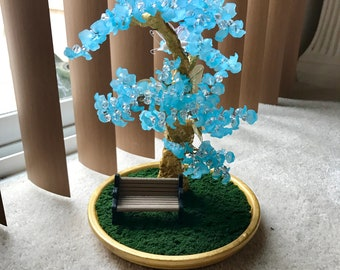 Enchanted frozen blue inspired bonsai bead tree garden