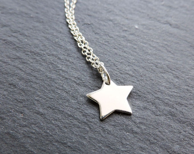 Sterling silver star charm pendant - Flat silver five point star necklace on chain, night sky, space, wanderlust, magic