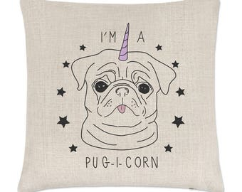 I'm A Pugicorn Stars Linen Cushion Cover