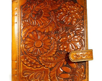 Leather Journal Floral ornament, Gift Genuine Leather Journal, Handmade Journal, Personalized Journal, Notebook, Diary, Gift, OOAK