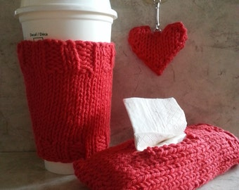 Coffee Cozy Pocket Tissue Cover Heart Keychain Handknit Cotton 3 Piece Gift Set Red, Gift under 30