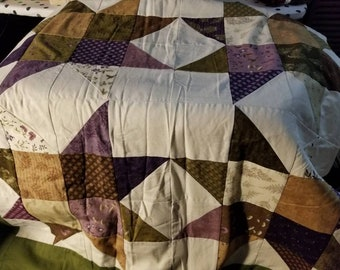 "76"" x 76"" lavender and sage star quilt."