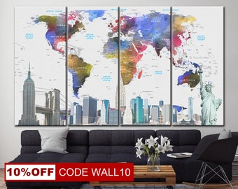World Map, World Map canvas, Wall Decor, LARGE Map Canvas, Color map, Map canvas, picture map, Canvas Print maps, Wall decor, World Map art