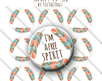 Editable Tribal Indian Feather Bottle Cap Digital Art Collage Set 1 Inch Circle Boy 4x6 - Instant Download - BC549