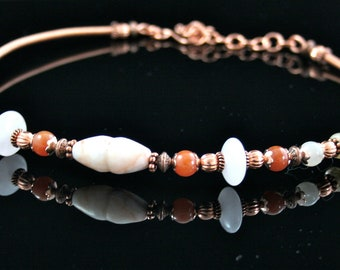 Ancient Inspiration Copper Necklace with Carnelian and Quartz