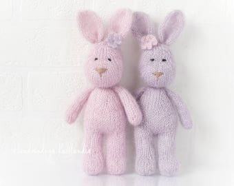 Mohair Bunny, Small Handknitted Toy, Newborn Photo Prop