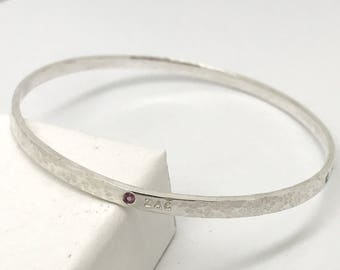 Silver Plated Knot Message Bangle Mum