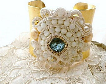 large gold bead embroidered creme white soutache cuff bracelet with fresh water pearls & Swarovski crystals  - statement jewelry