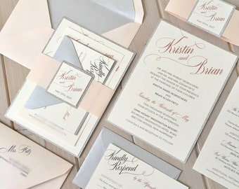 Blush, Ivory and Silver Wedding Invitations, Blush and Silver Glitter Wedding Invitations, Silver and Pink Invitations, Glitter Band