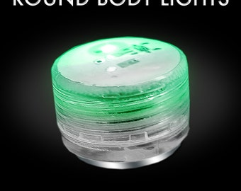 One DOZEN Flashing or MOOD LEDs - Round Body Lights - with magnet - Button Body Lights, LED Lights - Great for Burning Man, Costume lights.