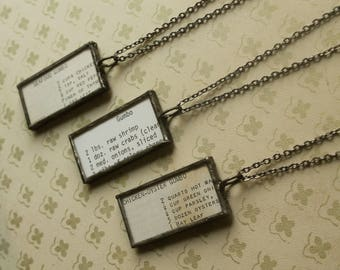 "Gumbo Vintage Louisiana Cookbook Recipe, Antiqued Soldered Glass Necklace, 18"" Chain, Listing Price for 1 Necklace, Louisiana Chef,"