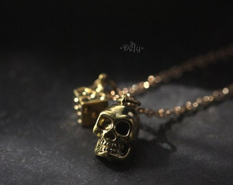 Small Human Skull and Dice Charm Necklace by Defy - Statement Pendant Jewelry - Accessories