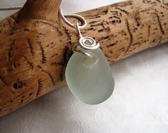 Natural Indentation Seafoam Green Sea Glass - Sea Glass Pendant - Wire Wrapped Pendant - Prince Edward Island Pure Sea Glass - Ocean Jewelry