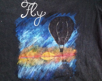 Hand Painted T-shirt, Hot Air Balloon Design