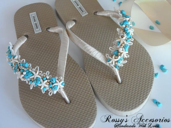 e703b67e2f3638 Turquoise Gift Flip Bride Beach Flops Pearls Gold Stone Flops Starfish  Party Wedding Flip and Flops ...