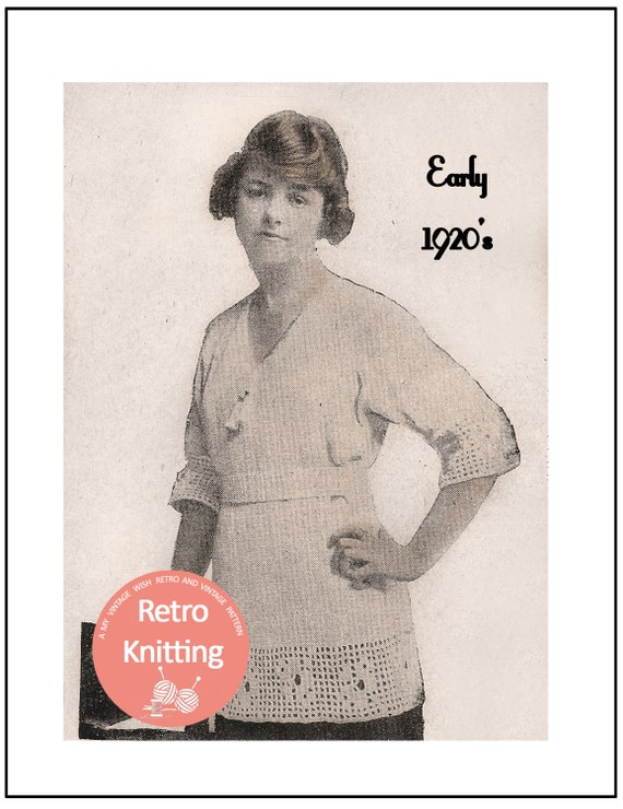 1920s Knitted and Crocheted Sweater Vintage Knitting Pattern
