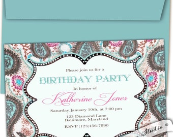 Paisley Birthday party invitation. Paisley party invitation. Paisley baby shower invitation Paisley Bridal shower invites Cowgirl invitation