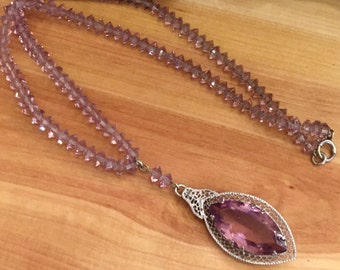 Beautiful French  Art Deco Faceted Purple Amethyst Crystal Silver Filigree Lavaliere Drop Vintage Necklace Art Deco Jewelry
