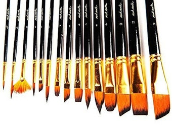 Artist Paint Brush Set by Mont Marte-Great for Watercolor, Acrylic, Oil-15 Different Sizes Nice Gift for Artists, Adults & Kids
