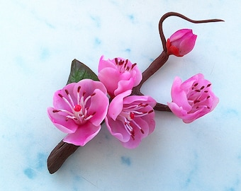 "Brooch ""Sakura"".Floral brooch. Gift for women. Clay flowers."
