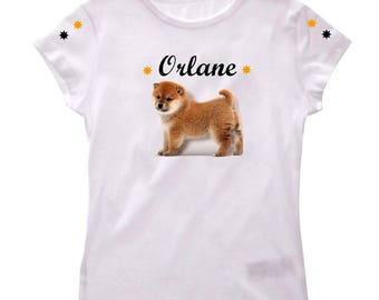 T-shirt girl akita dog personalized with name