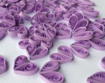 Quilled Hearts Paper Quilling Art Confetti Scatter Ornaments Gifts Fillers Easter Mothers Day Baby Bridal Shower Wedding Purple Lavender