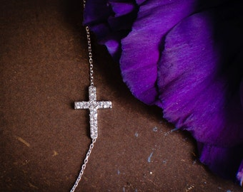 Sideways Cross Necklace - Small Sterling Silver CZ / Pave Rhinestone Encrusted Cross