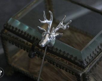 Silver stag / deer head lapel pin