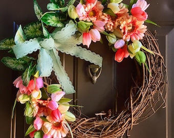 Tulip wreath, grapevine wreath, spring wreath, monogram wreath, front door wreath, flower wreath, easter wreath, tulips, sunflower