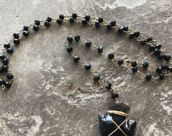 Black Obsidian Arrowhead Latiat Gold Wire wrapped on Onyx rosary chain