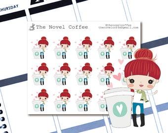 Planner Stickers Doodle Girl Coffee - Erin Condren Life Planners - NC66
