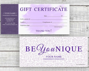 Younique Inspired Gift Certificate - Digital Download - Printable Gift Certificate - Printable