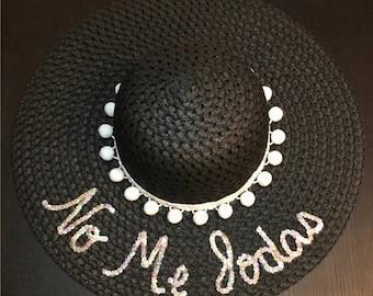 No Me Jodas beach hat / funny floppy hat / latina straw hat / spanish summer hat / personalized / spanglish