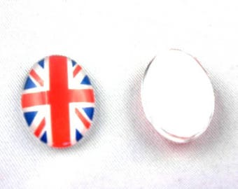 10 glass cabochons 18 * 13mm: Union Jack, English flag