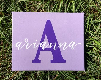 Monogram Name Sign | Initial and Name | Hand lettered | Canvas | Family Name | Nursery