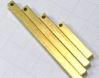 "raw brass bar square stamping bar 40 pcs mixed square rod (2mm 5/64"" 12 gauge hole ) sbl4"
