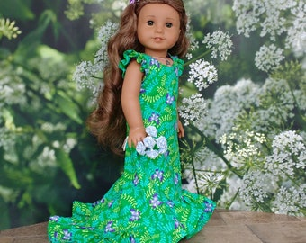 Doll clothes made to fit like American Girl doll clothes, Tropical Hawaiian Holoku dress for Nanea or Kanani, Fits similar 18 inch dolls