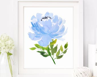 Blue Floral Wall Art, Peony Art, Peony Print, Peony Wall Decor, Peonies Bouquet, Shabby Chic, Blue Flower Prints, Peony Art, Printable Art