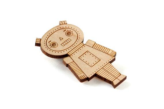 Robot girl brooch - lasercut wood - geek pin - retro robot - cute doll - kawaii wooden jewelry - geek jewellery - lasercutting