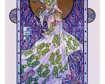"Celtic Irish Fantasy Art Print Emer, Wife of Cúchulainn 16x11""."