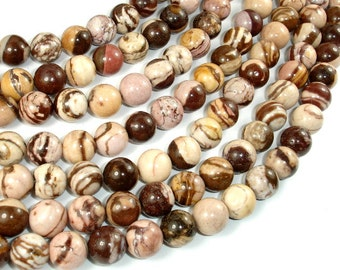 Brown Zebra Jasper, 10mm (10.6 mm) Round Beads, 15.5 Inch, Full strand, Approx 37 beads, Hole 1 mm (173054006)