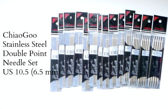 """ChiaoGoo Stainless Steel Double Pointed Needles - US 10.5 - 6.5 mm - set of 5 - 6"""" length (15 cm)"""